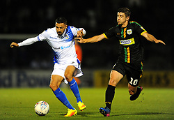Liam Sercombe of Bristol Rovers competes with Jake Gray of Yeovil Town - Mandatory by-line: Nizaam Jones/JMP - 09/10/2018 - FOOTBALL - Memorial Stadium - <br /> Bristol, England - Bristol Rovers v Yeovil Town - Checkatrade Trophy