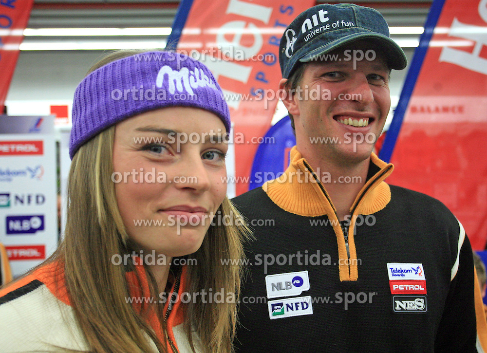 Tina Maze and Andrej Jerman at press conference of Slovenian men and women alpine skiing national team before new season 2008/2009 in Hervis, City park, BTC, Ljubljana, Slovenia, on October 20, 2008.  (Photo by: Vid Ponikvar / Sportal Images)