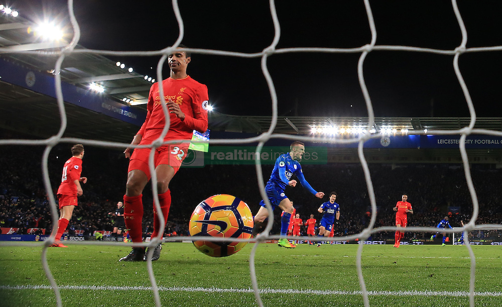 Leicester City's Jamie Vardy celebrates scoring his sides first goal during the Premier League match at the King Power Stadium, Leicester.