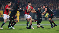 Rugby Union - 2017 British & Irish Lions Tour of New Zealand - Crusaders vs. British & Irish Lions<br /> <br /> Ben Te'o of The British and Irish Lions and Heiden Bedwell-Curtis and Bryn Hall of The Crusaders at AMI Stadium [Rugby League Park], Christchurch.<br /> <br /> COLORSPORT/LYNNE CAMERON