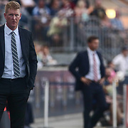 Philadelphia Union Manager JIM CURTIN, left, watches the game from the sideline in the first half of a Major League Soccer match between the Philadelphia Union and New York Red Bulls Sunday, July. 17, 2016 at Talen Energy Stadium in Chester, PA.