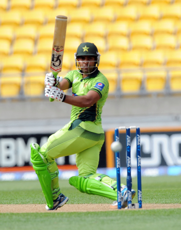 Pakistan's Umar Akmal batting against New Zealand in the 1st One Day International cricket match at Westpac Stadium, New Zealand, Saturday, January 31, 2015. Credit:SNPA / Ross Setford