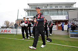Somerset's Alfonso Thomas leads out his side - Photo mandatory by-line: Harry Trump/JMP - Mobile: 07966 386802 - 30/03/15 - SPORT - CRICKET - Pre Season Fixture - T20 - Somerset v Gloucestershire - The County Ground, Somerset, England.