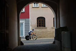 Lotta Lepistö sets off on a course recon at Thüringen Rundfarht 2016 - Stage 4 a 19km time trial starting and finishing in Zeulenroda Triebes, Germany on 18th July 2016.