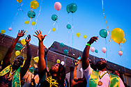 Students Wendy Thoby, Kiana Gay, and Linzell Tucker release balloons in thanksgiving for 96 years of service as a college following the Legacy/Candlelight service on Friday, April 27, 2018, outside the Lehman Center at Concordia College Alabama in Selma, Ala. LCMS Communications/Erik M. Lunsford