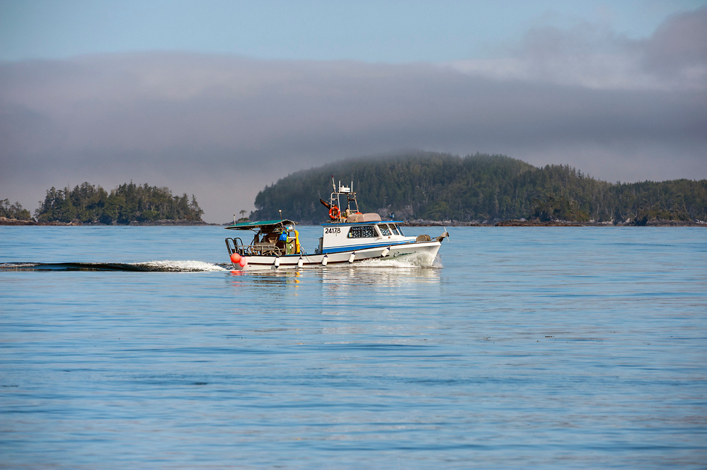 A fishing boat travels in the waters north of Vancouver Island.