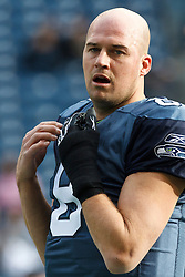 December 5, 2010; Seattle, WA, USA;  Seattle Seahawks quarterback Matt Hasselbeck (8) warms up before the game against the Carolina Panthers at Qwest Field. Seattle defeated Carolina 31-14.