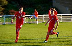 BANGOR, WALES - Monday, October 15, 2018: Wales' Brennan Johnson celebrates scoring the first goal during the UEFA Under-19 International Friendly match between Wales and Poland at the VSM Bangor Stadium. (Pic by Paul Greenwood/Propaganda)