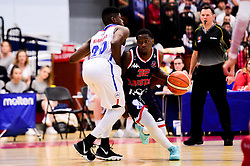 Jalan McCloud of Bristol Flyers is marked by Wes Washpun of London City Royals - Photo mandatory by-line: Ryan Hiscott/JMP - 26/04/2019 - BASKETBALL - SGS Wise Arena - Bristol, England - Bristol Flyers v London City Royals - British Basketball League Championship