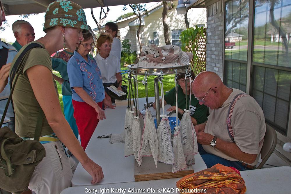 Bob Sargent banding hummingbirds at the Hummer/Bird Celebration in Rockport Texas Sept 2005