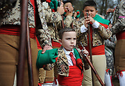 BEA AHBECK/NEWS-SENTINEL<br /> Forcados Amadores do Aposento de Turlock's Danny Terra holds his son Luciano Terra, 4, as they wait to enter the bullfighting ring during the bloodless bullfight during the Our Lady of Fatima Portuguese Festival in Thornton Saturday, Oct. 15, 2016.
