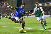 Alfredo Morelos tracked by Lewis Stevenson during the Ladbrokes Scottish Premiership match between Hibernian and Rangers at Easter Road, Edinburgh, Scotland on 19 December 2018.