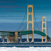Mackinac Bridge On A Beautiful Winter Day