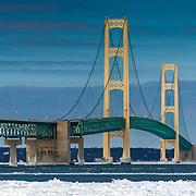 Mackinac Bridge On A Beautiful Winter Day