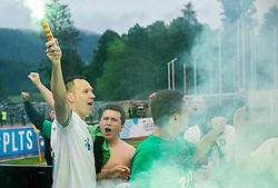 Dejan Kelhar #4 of NK Olimpija Ljubljana celebrates after winning during football match between NK Rudar and NK Olimpija Ljubljana in Round #35 of Prva liga Telekom Slovenije 2015/16, on May 14, 2016, in Stadium Ob jezeru, Velenje, Slovenia. NK Olimpija with this victory became Slovenian National Champion 2016. Photo by Vid Ponikvar / Sportida