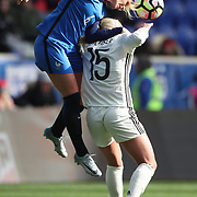 HARRISON, NEW JERSEY- MARCH 4:   Amadine Henry #6 of France wins a header against Mandy Islacker #15 of Germany during the France Vs Germany SheBelieves Cup International match at Red Bull Arena on March 4, 2017 in Harrison, New Jersey. (Photo by Tim Clayton/Corbis via Getty Images)