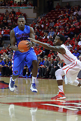 22 December 2013:  Tommy Hamilton IV moves against Daishon Knight during an NCAA  mens basketball game between the Blue Demons of DePaul falling to  the Illinois State Redbirds 69-64 in Redbird Arena, Normal IL