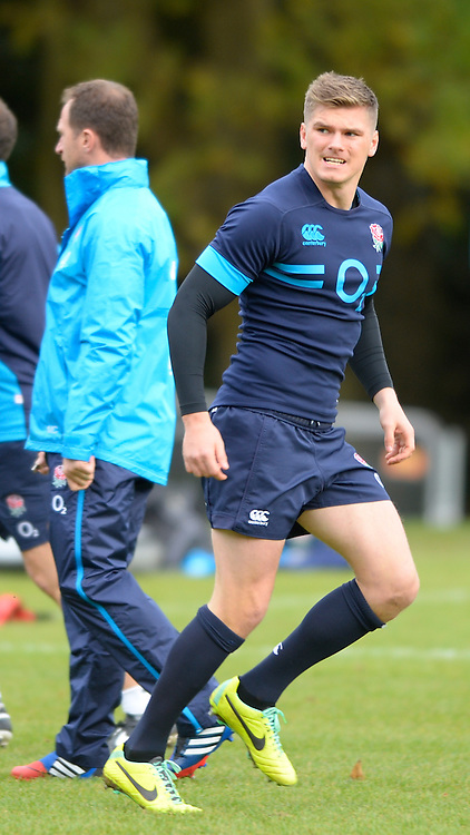 Bagshot, United Kingdom, Owen FARRELL,  during  England  Training for the  2013 QBE Autumn<br /> Rugby International, England vs Argentina, at the England training facility Pennyhill Park, Surrey<br /> Thursday  07/11/2013 RFU Stadium Twickenham,<br /> England. [Mandatory Credit: Peter Spurrier/Intersport<br /> Images]