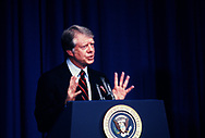 President  Carter addresses a White House Conference on Economic Growth in February 1978<br /> Photo by Dennis Brack