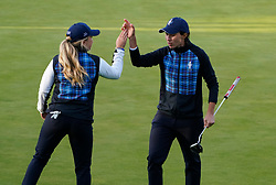 Solheim Cup 2019 at Centenary Course at Gleneagles in Scotland, UK. Carlota Ciganda of Europe celebrates with Bronte Law winning 17th hole during Friday afternoon fourballs.
