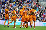 Wolves players celebrate the  opening goal scored by Bakary Sako. .  NPower championship, Cardiff city v Wolverhampton Wanderers at the Cardiff city stadium in Cardiff, South Wales on Sunday 2nd Sept 2012. pic by Andrew Orchard, Andrew Orchard sports photography,