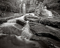 BW01857-00...SOUTH CAROLINA - Twin Falls in Pickens County. This is an Ilford Delta 100 4x5 film image. Exposure 4 seconds f45 with polarizing filter.