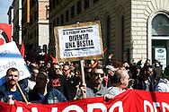 Roma 9 Marzo 2012.Manifestazione nazionale della FIOM, il sindacato dei metalmeccanici, a difesa dell'articolo 18  e contro il governo Monti..Rome 9 March 2012.National demonstration of FIOM, the metalworkers' union, in defense of Article 18 and against  the Monti government.