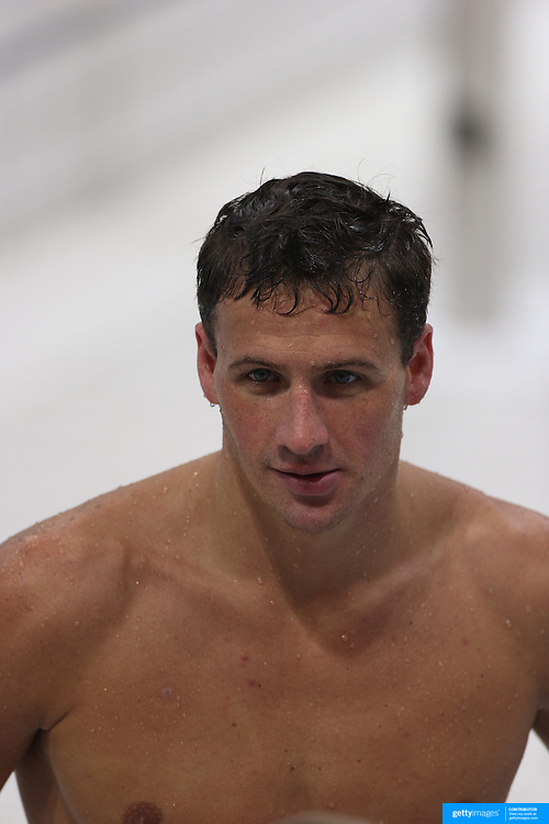 USA swimmer Ryan Lochte training with the USA team at the Aquatic Centre at Olympic Park, Stratford during the London 2012 Olympic games preparation at the London Olympics. London, UK. 24th July 2012. Photo Tim Clayton