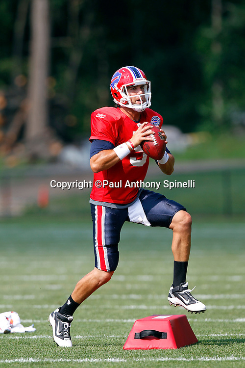 NFL Buffalo Bills quarterback Trent Edwards (5) runs a passing drill during training camp at St. John Fisher College on August 5, 2010 in Pittsford, New York. (©Paul Anthony Spinelli)