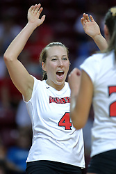 28 September 2008: Erin Lindsey prepares to high five Peggy Riessen after scoring a Redbird point. The Braves took the first set, but the Illinois State Redbirds grabbed 3 sets in a row to win the match 3 sets to 1. The Bradley Braves visited the Illinois State Redbirds at Redbird Arena on the campus of Illinois State University in Normal Illinois.