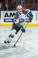 KELOWNA, CANADA - FEBRUARY 12: Kole Lind #16 of the Kelowna Rockets skates with the puck against the Victoria Royals on February 12, 2018 at Prospera Place in Kelowna, British Columbia, Canada.  (Photo by Marissa Baecker/Shoot the Breeze)  *** Local Caption ***