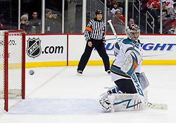 February 20, 2008; Newark, NJ, USA;  San Jose Sharks goalie Thomas Greiss (1) makes a save during the second period at the Prudential Center in Newark, NJ.