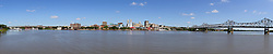 03 July 2014:   Peoria riverfront and skyline, late morning from Bass Pro Drive in East Peoria<br /> <br /> This image was produced in part utilizing Panoramic Image Stitching processes.  It should not be used editorially without being listed as an illustration or with a disclaimer.  It may or may not be an accurate representation of the scene as originally photographed and the finished image is the creation of the photographer.