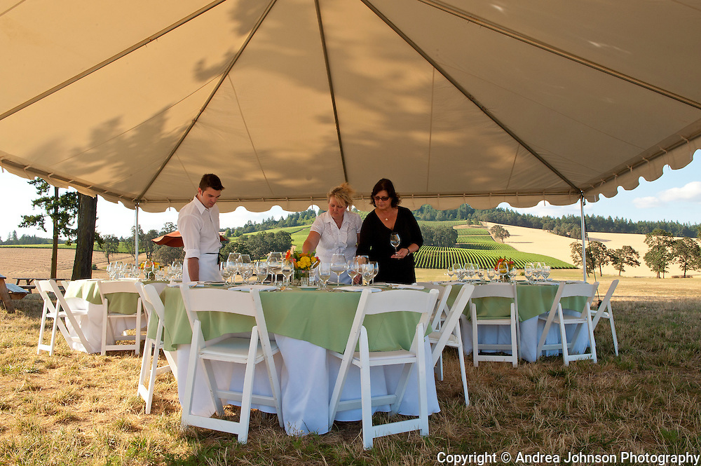 Preparations for private dinner event at Stoller Vineyards, Dundee Hills, Willamette Valley, Oregon.