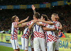 October 9, 2017 - Kiev, Ukraine - Croatia's players celebrate after winning the FIFA World Cup 2018 qualification football match between Ukraine and Croatia in Kiev on October 9, 2017. Ukraine fail to reach the play-offs as they lose 2-0. (Credit Image: © Sergii Kharchenko/NurPhoto via ZUMA Press)