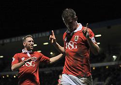 Bristol City's Matt Smith celebrates his second goal - Photo mandatory by-line: Dougie Allward/JMP - Mobile: 07966 386802 - 06/01/2015 - SPORT - football - Gillingham - Priestfield Stadium - Gillingham v Bristol City - Johnstone Paint Trophy - Area final