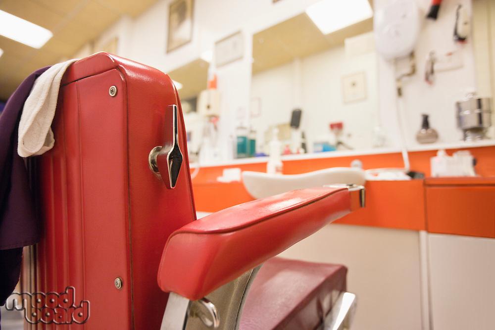 Empty chair in barbershop
