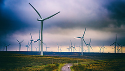 View of wind turbines at Whitelee Windfarm in East Renfrewshire operated by Scottish power, Scotland, United Kingdom