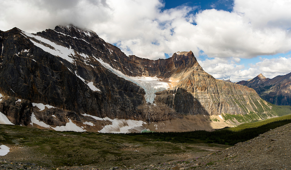 View of Angel Glacier on the side of Mount Edith Cavell; Jasper National Park, Alberta, Canada