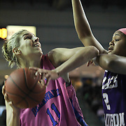 Delaware Forward Elena Delle Donne (11) attempts a shot under the rim during a regular season NCAA basketball game against James Madison Sunday, Feb 24, 2013 at the Bob Carpenter Center in Newark Delaware...