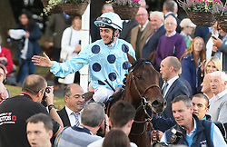 Almanzor and jockey Christophe Soumillon in the parade ring after winning The QIPCO Irish Champion Stakes during day one of the Longines Irish Champions Weekend at Leopardstown Races.