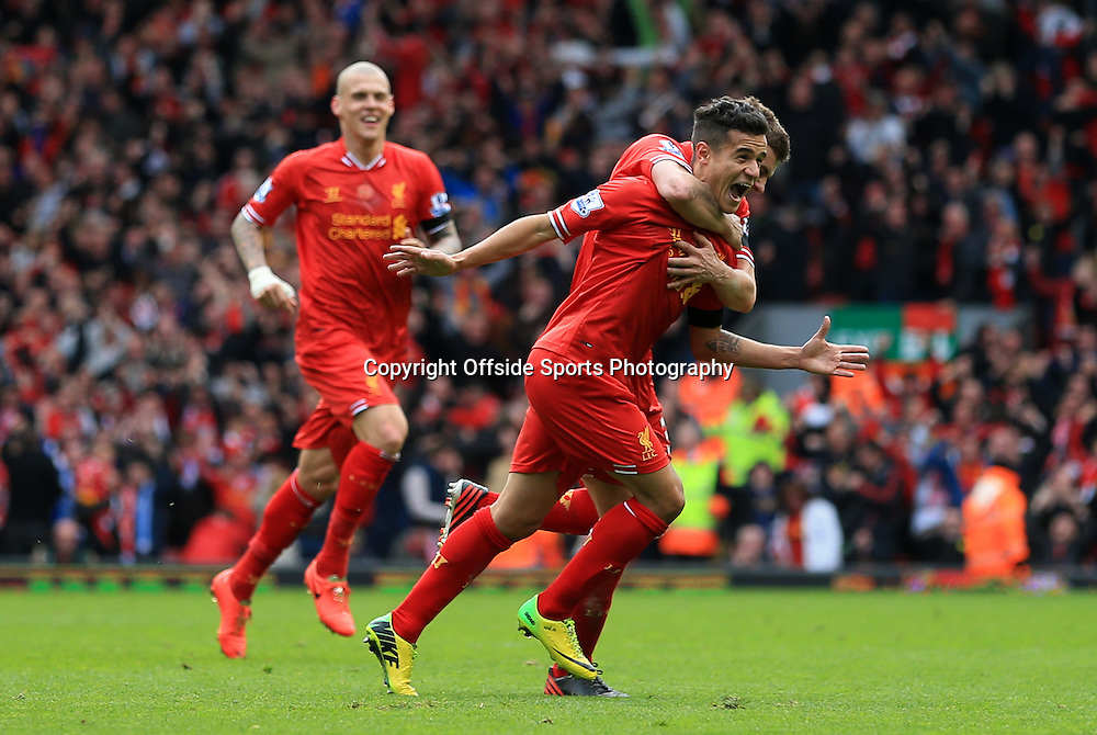 13th April 2014 - Barclays Premier League - Liverpool v Manchester City - Philippe Coutinho of Liverpool celebrates after scoring their 3rd goal - Photo: Simon Stacpoole / Offside.