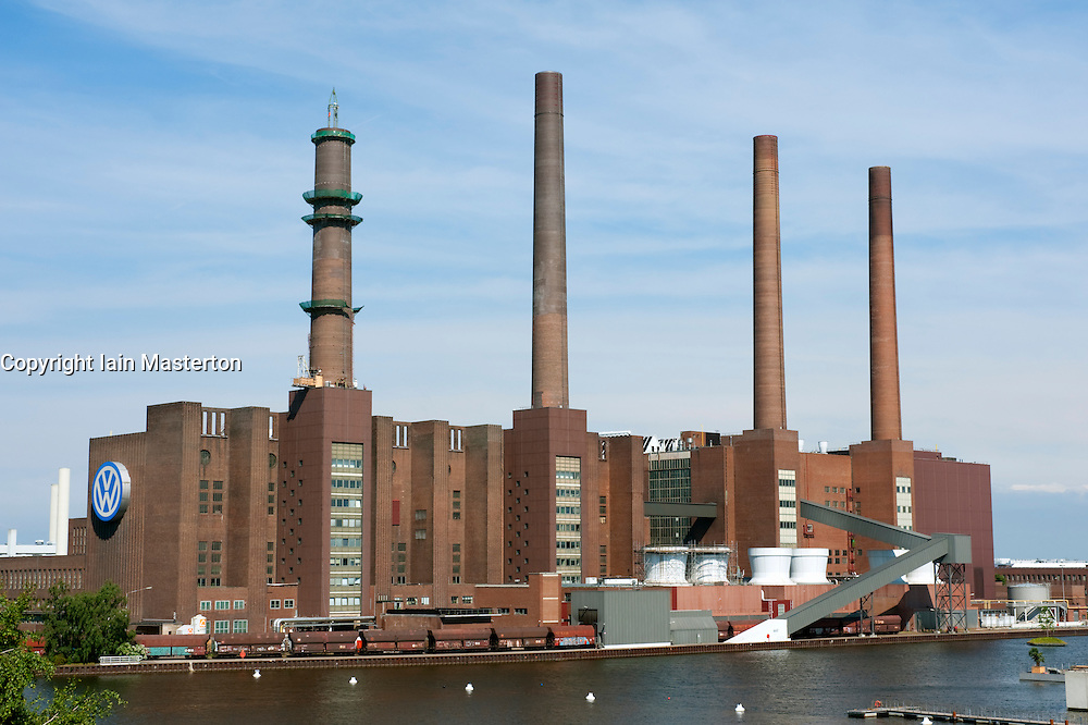 Volkswagen car factory with its own  power station at Wolfsburg in Germany