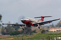 Pilatus PC-12/47E (N500DW) takes off from Palo Alto Airport (KPAO), Palo Alto, California, United States of America