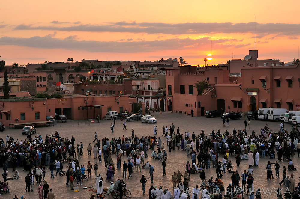 Morocco, Marrakesh. Sunset over Djemaa el-Fna Square.