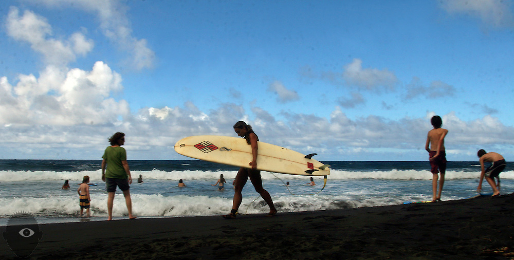 The Waipio Valley on the northeastern part of the Big Island, Hawaii, has great waves for surfing and boogie boarding.