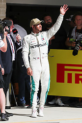 October 21, 2018 - Austin, TX, U.S. - AUSTIN, TX - OCTOBER 21: Mercedes driver Lewis Hamilton (44) of Great Britain acknowledges fans after placing third in the F1 United States Grand Prix on October 21, 2018, at Circuit of the Americas in Austin, TX. (Photo by John Crouch/Icon Sportswire) (Credit Image: © John Crouch/Icon SMI via ZUMA Press)