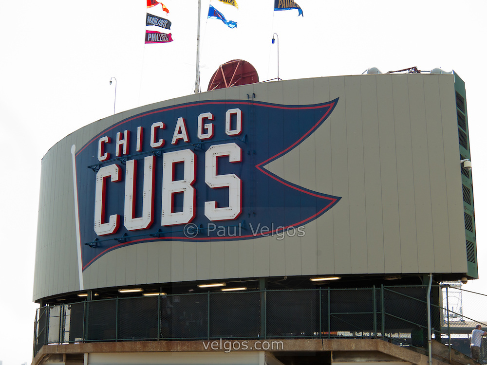 Chicago Cubs sign at Wrigley Field in Chicago. Wrilgey Field is a landmark known as The Friendly Confines and was built in 1914 making it one of the oldest ballparks in the United States.