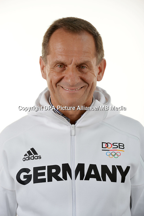 Alfons Hörmann poses at a photocall during the preparations for the Olympic Games in Rio at the Emmich Cambrai Barracks in Hanover, Germany. July 07, 2016. Photo credit: Frank May/ picture alliance. | usage worldwide