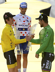 July 29, 2018 - Paris Champs-Elysees, France - PARIS CHAMPS-ELYSEES, FRANCE - JULY 29 : THOMAS Geraint (GBR) of Team SKY, ALAPHILIPPE Julian (FRA) of Quick - Step Floors, SAGAN Peter (SVK) of Bora - Hansgrohe pictured on the podium  during stage 21 of the 105th edition of the 2018 Tour de France cycling race, a stage of 116 kms between Houilles and Paris Champs-Elysees on July 29, 2018 in Paris Champs-Elysees, France, 29/07/18  (Credit Image: © Panoramic via ZUMA Press)
